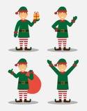 Duende de la Navidad en diversas actitudes Feliz Navidad y Feliz Año Nuevo Diseño plano ilustración del vector