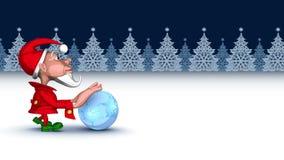 Duende de la Navidad que empuja la bola mágica de los copos de nieve inconsútil libre illustration