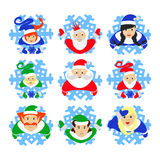 Duende de Santa Claus que el ejemplo EPS de 10 ayudantes en los copos de nieve mira para arriba gerl traje tradicional del ` s el stock de ilustración