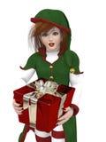 Duende de Santa com presente Foto de Stock Royalty Free