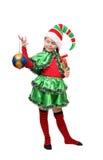 Duende de Santa com uma esfera do Natal. Fotos de Stock