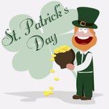 Duende de St Patrick com um potenciômetro de ouro ilustração stock