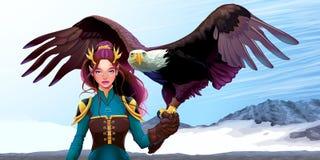 Duende do instrutor de Eagle nas montanhas ilustração royalty free