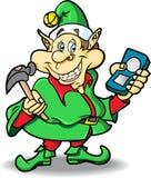 Duende do Natal com o jogador MP3 e o martelo Fotos de Stock Royalty Free