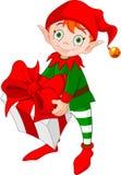 Duende do Natal com presente ilustração royalty free
