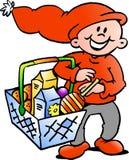 Duende do Natal feliz com um cesto de compras Fotos de Stock Royalty Free