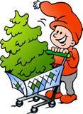 Duende do Natal feliz que compra uma árvore de Natal Imagem de Stock Royalty Free