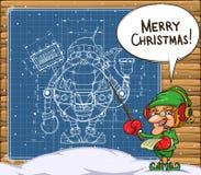 Duende e o esquema do robô Santa na parede Foto de Stock Royalty Free