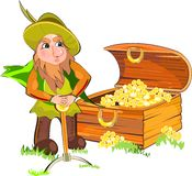 Duende e uma caixa do ouro Imagens de Stock Royalty Free