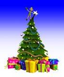 Duende en el árbol de navidad Foto de archivo libre de regalías