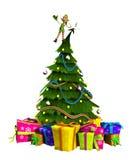 Duende en el árbol de navidad Imágenes de archivo libres de regalías