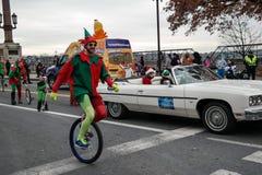 Duende en el Unicycle Fotografía de archivo