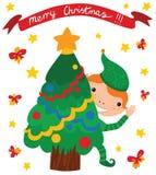 Duende feliz con el árbol de navidad Imagen de archivo