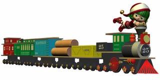 Duende lindo de la Navidad con el tren del juguete ilustración del vector