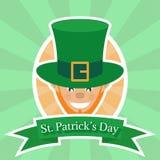 Duende, logotipo para la plantilla de la tarjeta de felicitación del día del ` s de St Patrick Imagen de archivo libre de regalías