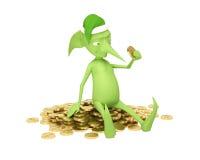 Duende mágico con el dinero Imagenes de archivo
