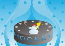 Duende malicioso de hockey con el ganador. Imagen de archivo libre de regalías