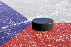 Duende malicioso de hockey negro Imagen de archivo libre de regalías