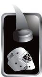 Duende malicioso y casco de hockey en el marco de plata Imagen de archivo libre de regalías