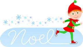 Duende patinador de Noel Imágenes de archivo libres de regalías