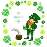 Duende pequeno engraçado com uma caneca de cerveja verde ilustração stock
