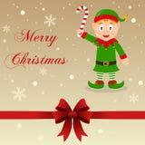 Duende retro del verde de la tarjeta de la Feliz Navidad Fotografía de archivo libre de regalías