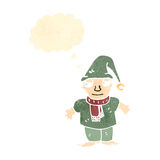duende retro do Natal dos desenhos animados Foto de Stock Royalty Free