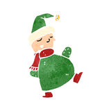 duende retro do Natal dos desenhos animados Imagens de Stock Royalty Free