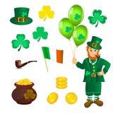 Duende, tesoro, trébol al día del St Patricks Fotos de archivo libres de regalías