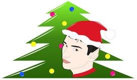 Duende y árbol de navidad Fotos de archivo libres de regalías