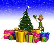 Duende y árbol de navidad con nieve Imágenes de archivo libres de regalías