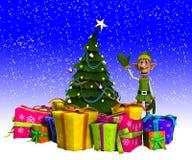 Duende y árbol de navidad con nieve Imagenes de archivo