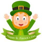 Duende y cinta felices del día de Patrick s Imagen de archivo libre de regalías