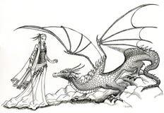 Duende y dragón stock de ilustración