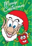 Duende y presente de la Feliz Navidad Imagenes de archivo
