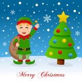 Duende y árbol de navidad felices en la nieve Imagenes de archivo