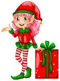 Duende y regalo stock de ilustración