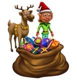Duende y reno con el bolso del regalo stock de ilustración