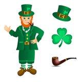 Duende y trébol para el día del St Patricks Imagenes de archivo