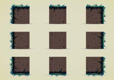Duendes à terra com grama na noite para criar o jogo de vídeo Ilustração do Vetor