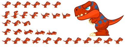 Duendes animados do caráter do dinossauro ilustração royalty free