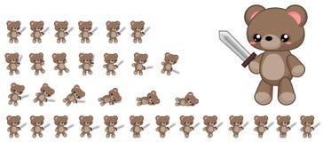 Duendes bonitos animados do caráter do urso ilustração do vetor