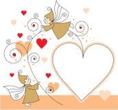 Duendes com corações Fotografia de Stock Royalty Free