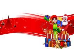 Duendes con santa y muchos regalos en fondo rojo Imagen de archivo libre de regalías