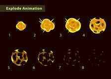 Duendes da explosão da bola de fogo para o projeto de jogo ilustração stock