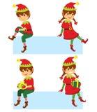 Duendes de la Navidad en banderas ilustración del vector