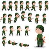 Duendes do caráter do soldado para jogos, animações ilustração stock
