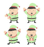 Duendes do Natal gordos e poses diferentes Imagens de Stock Royalty Free