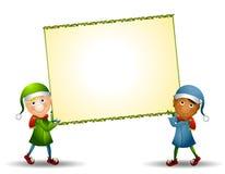 Duendes que llevan la muestra de Navidad ilustración del vector