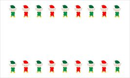 Duendes rojos y verdes ilustrados de la Navidad en blanco Fotografía de archivo libre de regalías